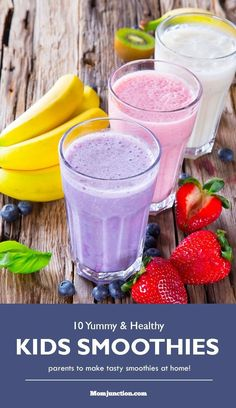 "Yummy Smoothie Recipes for Kids."" Smoothies are just great, as they are so refreshing, loaded with the benefits of vitamins and minerals. They boost up the immunity and energy levels of your Here are some smoothie recipes which you can try. Have a look Healthy Smoothies For Kids, Smoothie Recipes For Kids, Yummy Smoothies, Juice Smoothie, Healthy Snacks For Kids, Baby Food Recipes, Kid Recipes, Jello Recipes, Whole30 Recipes"