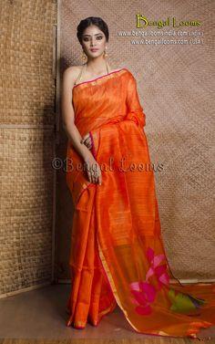 Pure Handloom Khadi Tussar Silk Saree with Resham Jamdani Pallu in Orange Tussar Silk Saree, Cotton Saree, Women Clothing Stores Online, Orange Saree, Indian Outfits, Indian Clothes, Engagement Dresses, Elegant Saree, Indian Sarees
