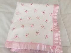 Carters Pink Flower Satin Blanket Pretty in Pink White Baby Blanket Bow Floral  | eBay