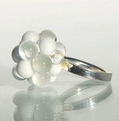 White Glass Cluster Ring