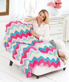Sherbet Ripple Throw Free Crochet Pattern LW3185