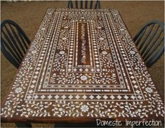 DIY Indian Inlay Stenciled Table