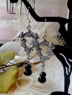 One of a Kind Silver and Crystal Cherub Earrings by bijoullery on Etsy