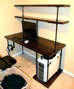 Industrial DIY computer desk design ideas. #industrialdiycomputerdesk