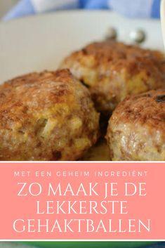 Met dit geheime ingrediënt maak je de lekkerste gehaktballen Dutch Recipes, Meatloaf, Muffin, Breakfast, Desserts, Projects, Food, Morning Coffee, Tailgate Desserts