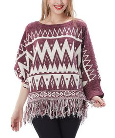 This Red Geometric Fringe Sweater is perfect! #zulilyfinds