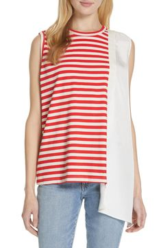 Great for Clu Stripe Mixed Media Asymmetrical Tank Best Seller Womens fashion clothing from top store Striped Linen, Striped Tank, Clu, Fashion Outfits, Womens Fashion, Nordstrom, Tunic Tops, Plus Size, Clothes For Women