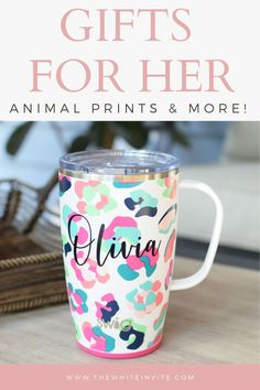 This Swig Travel mug will keep your coffee hot or your cool drink cold for hours.  Cute, trendy animal print personalized...a great gift for her!  travel mug with handle, personalized gift, travel mug cute, travel mug cute gift idea, gift ideas for her, personalized mug, bridesmaid gift mug, custom tumbler cups, gift, gift ideas, cheetah, cheetah print, animal print, animal print mug
