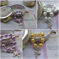 denarios de perlas en latitas, comunion,bautismo+estampita