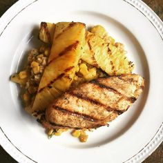 Marinated grilled chicken and pineapple, and Caribbean rice