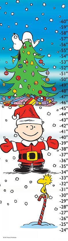 Description: Your favorite Peanuts characters are celebrating Christmas on this child's growth chart. In bright holiday colors, the friends are playing in the snow around a Christmas tree. - Peanuts g