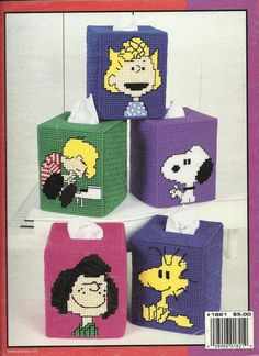 Plastic Canvas Tissue Holder Patterns | Tissue Box Cover plastic canvas patterns Linus Lucy - Plastic Canvas ...