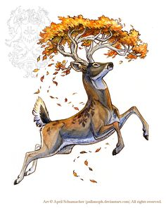 Autumn Stag Tattoo by pallanoph.deviantart.com on @deviantART