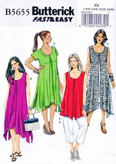 Butterick Sewing Pattern 5655 Fast & Easy Misses'/Women's top, dresses and pants.    Description: Loose-fitting top or dress have overlay attached at