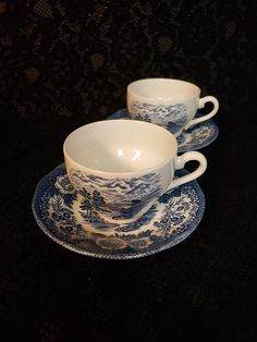 Royal Warwick of England, Lochs of Scotland, Teacup & Saucer, Cobalt Blue and White Transferware, Sailing Ships, Thistle, PERFECT! Vintage Plates, Retro Vintage, Kitchen Ware, Tea Sets, China Dinnerware, Tea Cup Saucer, Purple Amethyst, Teacup, Cobalt Blue
