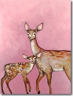 Deer With Fawn - Canvas and Paper Reproduction – Eli Halpin Oil Paintings