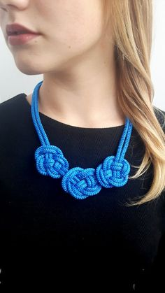 Handmade rope necklace,blue rope necklace, blue statement necklace, rope knot necklace, chunky necklace, blue necklace, nautical necklace. Made from blue soft rope for every women. This amazing necklace is a perfect gift for Birthday, Christmas or for Bridesmaid! Its something blue for