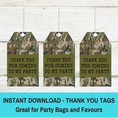 Camo Party Thank You Party Favour Tags Nerf Wars Camoflage