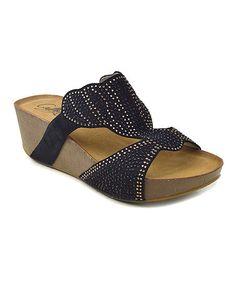 84ff7e765fc8 Cathy Din Black Studded Kasey Wedge Sandal