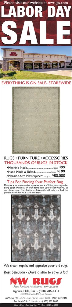 Yup, we're having a sale too! Lots to choose from...great deals all weekend. Pass it on (Pls. share).  #LaborDay #Sale #rugs #home #interiordesign #homedecor #loveofrugs