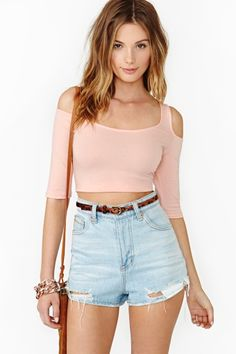 Made To Stray Crop Top in Peach by Nasty Gal