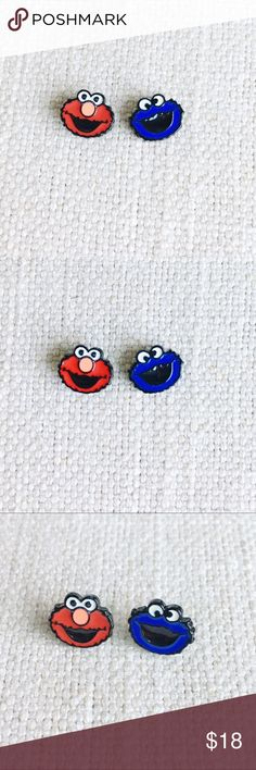 Sesame Street Pin Pair Set of 2 small enamel pins shaped like the lovable characters from Sesame Street: Elmo and Cookie Monster Jewelry Brooches