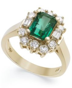 14k Gold Ring, Emerald (1-5/8 ct. t.w.) and Diamond (3/4 ct. t.w.) Ring - Rings - Jewelry & Watches - Macy's
