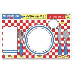Melissa & Doug Set the Table Color-A-Mat - placemats available for purchase. I'm hoping this will help my toddler learn to place his plate, utensils, and cup on the table rather than throwing it. Basic Table Setting, Floor Puzzle, Table Manners, Activity Mat, Melissa & Doug, Practical Life, Group Activities, Nutrition Activities, Kids Nutrition