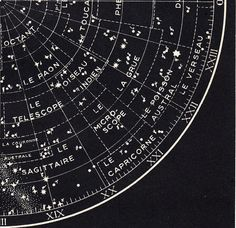 S The Sky Star Map Lithograph Planisphere Star Chart Original