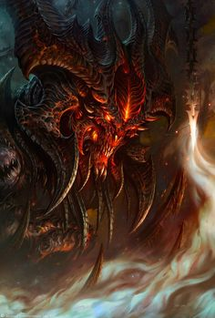 [wiki]Diablo[/wiki] artwork by [wiki]Wang Wei[/wiki], AKA Glowei. This image was featured on the [wiki]BlizzCon official logo, as well as the King of Hearts in the [wiki]Diablo poker set[/wiki]. Foto Fantasy, Dark Fantasy Art, Fantasy Artwork, Fantasy Monster, Monster Art, Fantasy Dragon, Dragon Art, Diablo Characters, Diablo Game