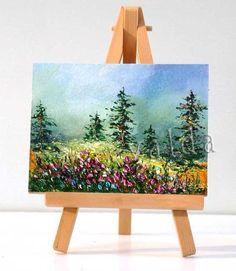 Pintorescos árboles de pino 3 x 4 pintura por valdasfineart en Etsy