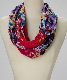 Another great find on #zulily! Red Floral Polka Dot Infinity Scarf #zulilyfinds