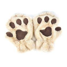 Winter Women Cute Cat Paw Claw Plush Mittens Short Fingerless Finger Half Gloves-J117