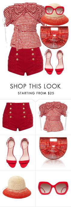 """""""Rosie"""" by thestyleartisan ❤ liked on Polyvore featuring Pierre Balmain, Rosie Assoulin, Cult Gaia, Helen Kaminski, Alice + Olivia, ruffles, gingham and ruffledtops"""