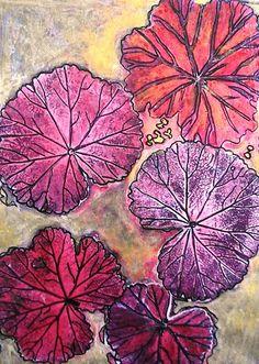 "( November's Garden 10 - Monoprint by Belinda ""BillyLee"" NYE (Printmaker) 14/10/2014)"