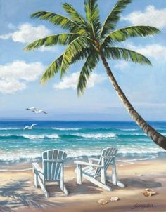 Reproduction of Sung Kim Hidden Beach on canvas or frame is available; Handmade Sung Kim Hidden Beach painting is at a discount of off! Hidden Beach, The Beach, Beach Art, Painting Frames, Diy Painting, Watercolor Painting, Belle Image Nature, Palm Trees Landscaping, 5d Diamond Painting