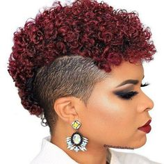 dark red afro mohawk