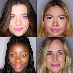 Batom pink em 100 mulheres diferentes