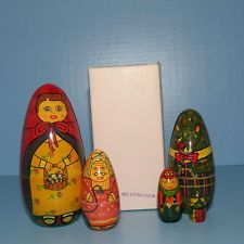 """VINTAGE NESTING DOLLS FROM INDIA """"LITTLE RED RIDING HOOD"""" (BOXED) RARE ! LQQK!"""