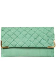 minty quilted leather wallet