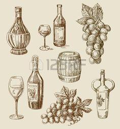 Boceto dibujado vino vector de la mano y del doodle de viñedo Vectores