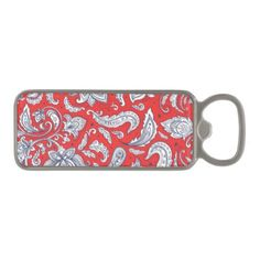 Cute red vintage flowers patterns magnetic bottle opener - red gifts color style cyo diy personalize unique