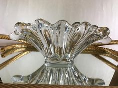 Vannes Le Châtel France Vintage 1960s Art Glass Crystal Bowl