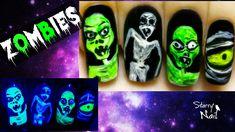 Halloween Scary Zombies ⎮ Glow in the Dark Freehand Nail Art  Video Tutorial #NailArt #NailPolish #NailDesign #NailTutorial #NailArtTutorial #Tutorial #Art