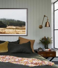 In the bedroom, sage green panelled wall wraps the room in color, without skewing too sombre. Sage Green Bedroom, Sage Green Walls, Feature Wall Bedroom, Bedroom Wall, Master Bedroom, Bedroom Wardrobe, California Bedroom, Luxury Duvet Covers, Luxury Rooms