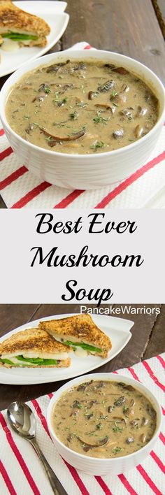 Best Ever Mushroom Soup - low fat, vegan, gluten free creamy mushroom soup. always looking for a best ever mushroom soup! Comidas Light, Creamy Mushroom Soup, Mushroom Soup Recipes, Creamy Soup Recipes, Best Mushroom Soup, Mushroom Chicken, Chicken Bacon, Healthy Mushroom Recipes, Mushroom Appetizers