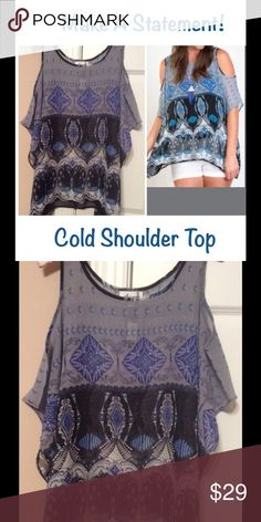🆕 Cold Shoulder Top Sheer Blue Tonal Cold/Open Shoulder Top. Perfect to pair with a Bralette. Tops Tunics