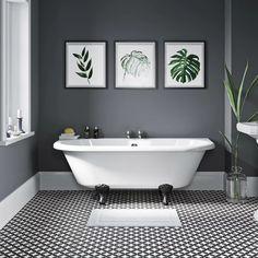 Dulwich back to wall roll top bath with black ball and claw feet 1700 x 750 Bathroom Faucets, Bathroom Wall, Master Bathroom, Family Bathroom, Small Bathroom With Bath, Navy Bathroom Decor, Lodge Bathroom, Rental Bathroom, Bathroom Layout