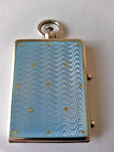 Minaudiere guilloche enamel silver by Louis Kuppenheim from Germany. Former collection.