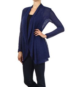 Look what I found on #zulily! Navy Sheer Textured Open Cardigan #zulilyfinds